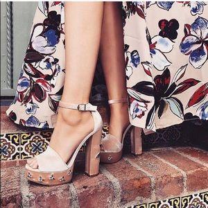 Chinese Laundry Satin Platform Embroidered Heels
